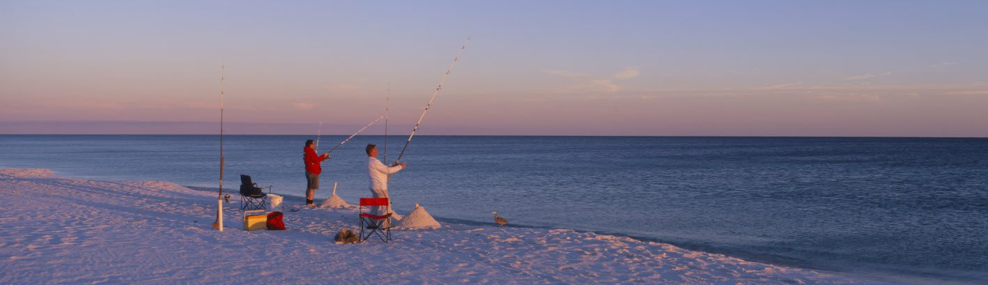surf fishing tackle bag - men on beach
