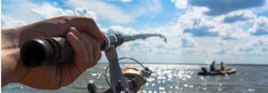 telescopic surf rod and and reel combos - rod in use