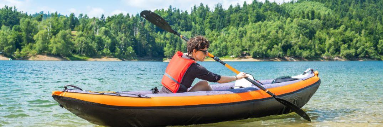 best inflatable fishing kayaks - man in kayak