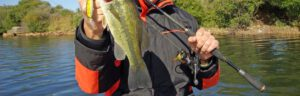 spinning reels for bass fishing - man with spinning reel and bass