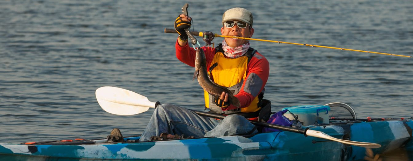 How To Stay Safe When Fishing On A Kayak - man with hat and gloves