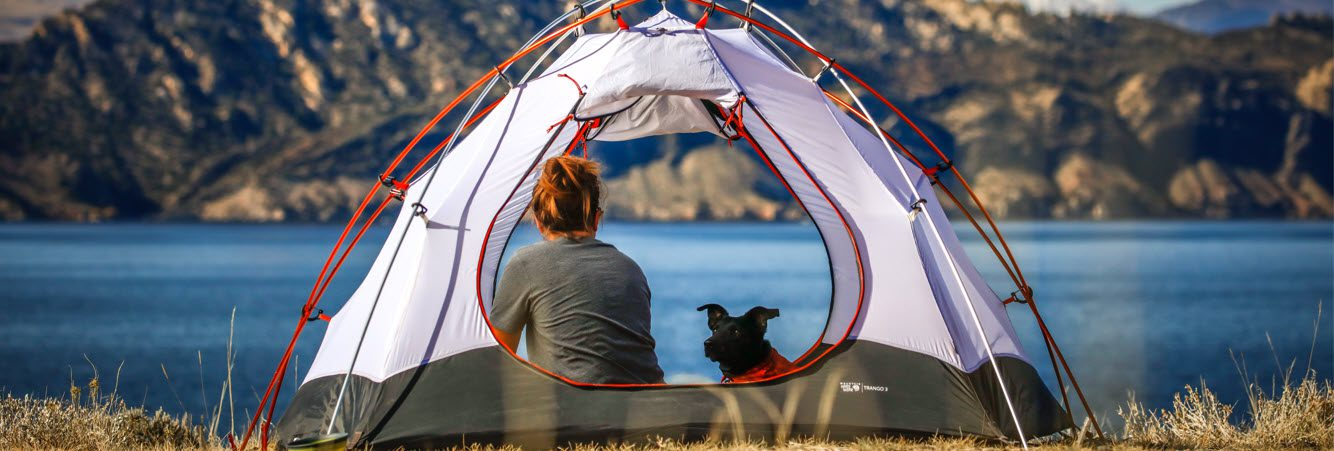 Must Have Camping Items - lady and dog in tent