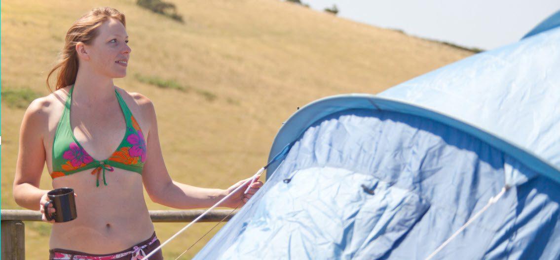 Summer Camping Tips - Girl camping in bikini